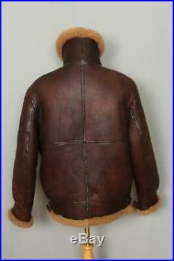 Mens B-3 Sheepskin Leather USAAF Winter Jacket Size Large