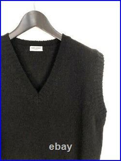 Mens Black Wool Vest Designer Saint Laurent Paris Sweater Size XL