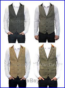 Mens Designer Multicolour Charcoal Grey Oak Tan Vintage Tweed Waistcoats