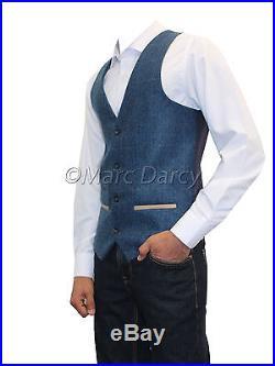 Mens Designer Tweed Herringbone Vintage Style Blue Waistcoats (Lee Dion)