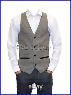 Mens Designer Tweed Herringbone Vintage Style Grey Waistcoats (Lee Dion)