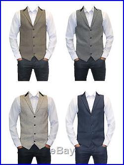Mens Grey Blue Cream Tan Designer Tweed Herringbone Slim fit wedding Waistcoats