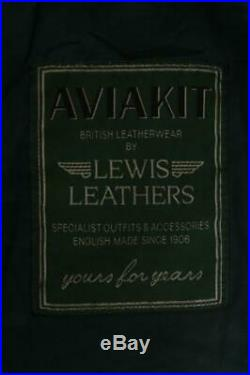 Mens LEWIS LEATHERS Aviakit Motorcycle Flight Leather Jacket Large/XLarge
