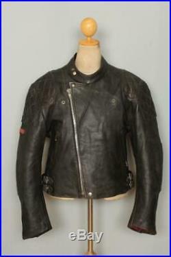 Mens LEWIS LEATHERS Black Roadfarer Motorcycle Cafe Racer Jacket XL