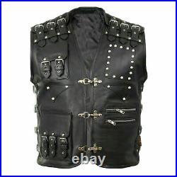 Mens Leather Waistcoat / Biker Vest Braided Fish Hook Buckle Motorcycle Rider