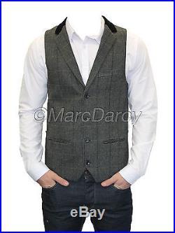 Mens Marc Darcy Designer Charcoal Vintage Tweed Waistcoats (DX7)