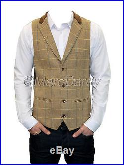 Mens Marc Darcy Designer Oak Vintage Tweed Waistcoats (DX7)