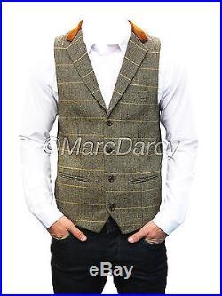 Mens Marc Darcy Designer Tan Vintage Tweed Waistcoats (DX7)
