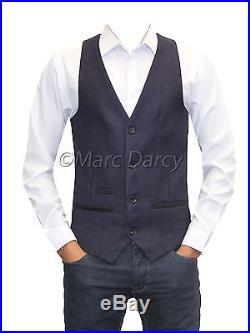Mens Marc Darcy Designer Tweed Purple Waistcoat