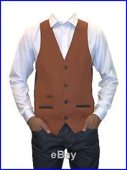 Mens Marc Darcy Designer Tweed Rust Waistcoat