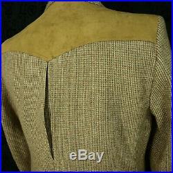 Mens Pendleton Vintage Tweed & Suede Western Norfolk Jacket Blazer Size 40 Med