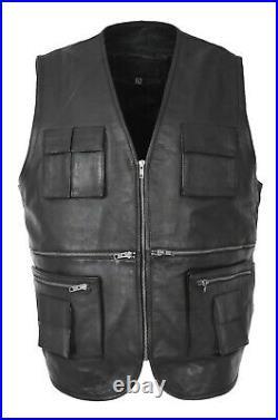 Mens Real Black Soft Leather Fisherman Waistcoat Casual Multi Pockets Gilet Vest