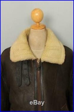 Mens SCHOTT B-3 USAAF Sheepskin Leather Winter Flight Jacket Size 48 XL