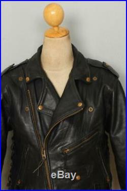 Mens VANSON Heavyweight Black Motorcycle Biker Leather Jacket Small/Medium
