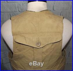 Mens Vintage C. C. Filson Repellent Tin Cloth Waxed Vest L Upland Hunting USA