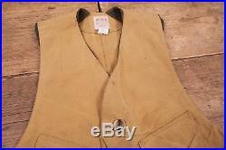Mens Vintage CC Filson Co. Tan Tin Cloth Hunting Vest USA Made XL 48 XR 9292