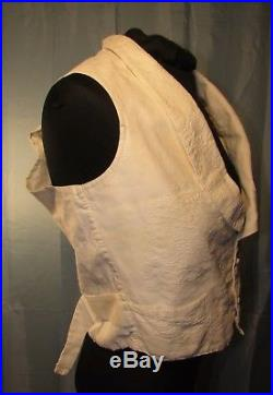 Mid-19th Century Cotton Trapunto Vest, Slots For Chest Pads, Owner ID