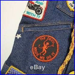 Motorcycle Club Wrangler Selvedge Denim Vest Chain Stitched Embroiderd Patched