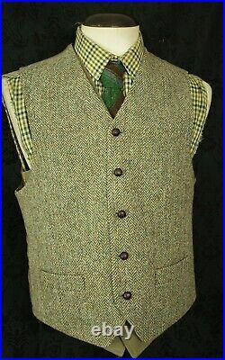 New Good Mens Harris Tweed Waistcoat and Jacket Blazer Set Size 40 Medium