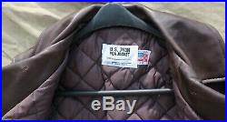 New Schott #140 Brown Leather Pea Coat size 38 made in USA 740N MSRP $798