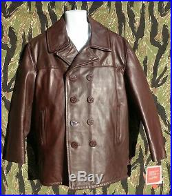 New Schott #140 Brown Leather Pea Coat size 44 made in USA MSRP $798