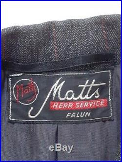 Orig. 1940's Vintage Suit Swedish 3-piece coat waistcoat trousers