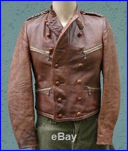 Original 30s old German Motorcycle Leather Jacket Aryan Racing Vest ADEFA Coat