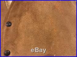 Original 50s 60s Levis Shorthorn Big E Western Suede Leather Vest Sherpalined