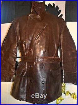 Original Old 1930s German Flight Leather Jacket Motorcycle Racing Vest 1940s XL