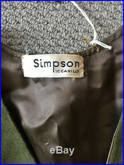 Original'Simpson' British Made 1960's Green Suede Mod Waistcoat