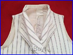 Original Vintage Circa 1800 -1820s Double Breasted Stripped Waistcoat Vest
