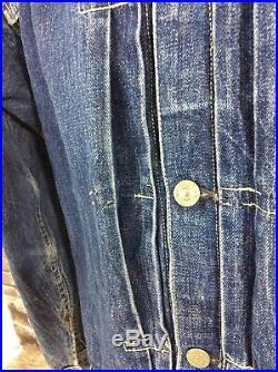 Original Vintage Levi's Type 1 Denim Jacket Buckle Back Big E