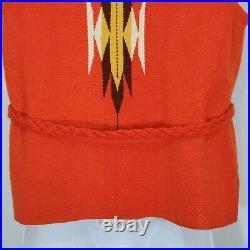 Ortega Wool Vest Size S Orange Hand Woven Chimayo NM Vintage Unlined Belted