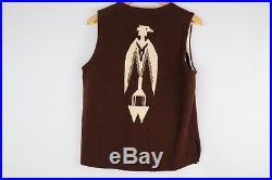Ortegas True Vintage Brown 100% Wool Chimayo Aztec Southwest Vest Sz 38 Rare