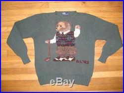 Polo Ralph Lauren Vintage 90's Hand Knit RL92 Golfing Bear Sweater Vest Green