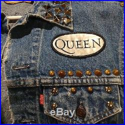 Queen LEVIS DENIM VEST JACKET RARE VINTAGE PATCH PUNK METAL THRASH STUDDED