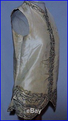 RARE 1750-60's Hand Embroidered Mans Waistcoat / Vest Sm France