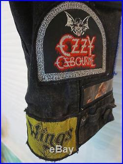RARE! -80s BLACK DENIM GRUNGE VEST-METAL ROCK PATCH-IRON MAIDEN-BLACK SABBATH-34