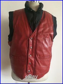Rare Vintage Schott Leather And Down Jacket Vest Men S