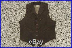 RARE Vintage buckleback 80s Polo Western Ralph Lauren Brown Vest Sz L
