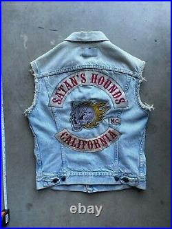 RARE vintage Motorcycle Club Vest Jacket MC Denim Levis Harley CA MOVIE PROP