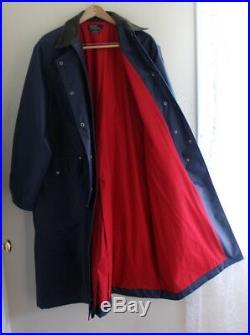 Ralph Lauren -Sz L RARE 92 Cookie Patch Rain Sailing Long NAVY Coat Jacket