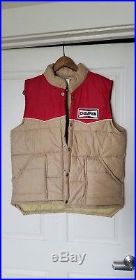 -Rare-1970's -Champion- Vintage Spark Plugs Racing puffer vest original large