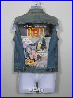 Rare 1980s comic book pop art denim Levi vest / painted denim jacket / SMALL