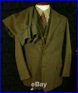 Rare Bespoke Vintage 1900's Tweed Gamekeeper 3 Piece Suit Breeks Waistcoat