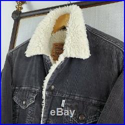Rare LEVIS Small Made in Italy Sherpa Corduroy Denim Trucker Jacket Charcoal Men