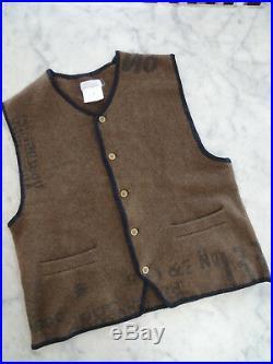 Rare MATSUDA Vintage men knit wool vest camel brown check measurements