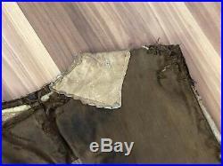 Rare Old 1890s Vtg Canvas & Shearling Workwear Vest Jacket Farm Miner Work West