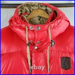 Rare VTG POLO SPORTSMAN 2XL Red Puffy Down Fill Hooded Nylon Vest Ralph Lauren