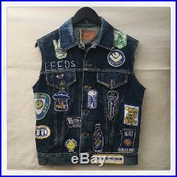 Rare Vintage 1970s Leeds United Fan Denim Waistcoat with Super Rare Badges